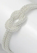 "Stylish 8.5"" NEW Solid Sterling Silver Love Knot Rope Bracelet 9g Pop Corn Link"