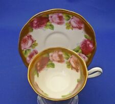 Royal Albert Crown China England Heavy Gold Old English Rose Tea Cup Saucer Duo
