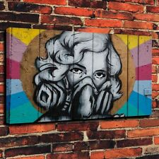 Masked Woman Graffiti  Art Print Oil Painting on Canvas Home Decor (Unframed)