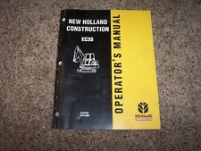 NH New Holland EC35 Mini Excavator Owner Owner's Operator User Guide Manual
