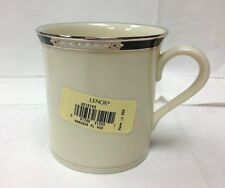 "LENOX ""HANCOCK PLATINUM"" MUG 3 5/8"" HIGH, IVORY BONE CHINA NEW MADE IN U.S.A."