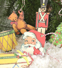 Set of 36 Vintage Style Toys Image Paper Christmas Ornaments Gift Tags Cavallini