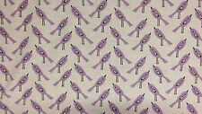 Purple Birds 100% Cotton Fabric 160cm wide, per half meter