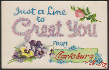 Clarksburg-West Virginia-Just a Line To Greet You-Greeting-Antique Postcard
