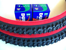 1 PAIR 26X2.10 MOUNTAIN BICYCLE TIRES PLUS 2 TUBES - RED WALL -FREE RIM LINERS