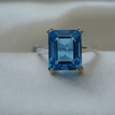 5.71ct Octagon Swiss Blue Topaz White Gold Ring