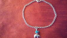 """Vintage 925 sterling silver bracelet with a bear/turquoise charm. 9"""""""