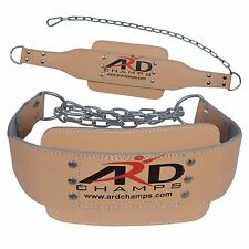 ARD Weight Lifting Dipping Chain belt Gym Training Body Building real Leather