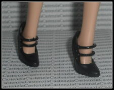 SHOES MATTEL BARBIE DOLL DOTW FRANCE BLACK MARY JANE HIGH HEEL SHOES ACCESSORY