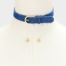 "12"" dark blue jean denim buckle choker collar bib necklace earrings .75"" wide 18"