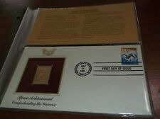 FIRST DAY OF ISSUE  & GOLD REPLICA STAMPS  SPACE ACHIEVEMENT  THE UNIVERSE 1981