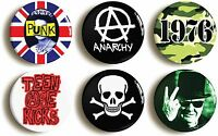 6 x PUNK ROCK BADGES BUTTONS PINS (1inch/25mm diameter) SEVENTIES FANCY DRESS