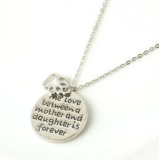 The Love Between Mom and Daughter is Forever Palm Stamp Pendant Necklace Chain