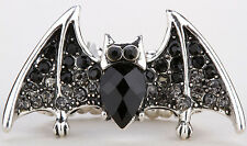 Bat stretch ring halloween bling jewelry gift for women girls black gray 2