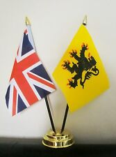 UNION JACK AND FLANDERS TABLE FLAG SET 2 flags plus GOLDEN BASE