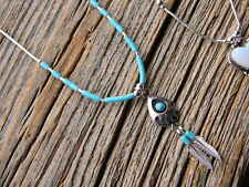 """Sterling silver Navajo necklace 16"""" long bearpaw 2 hanging feathers 3 turquoise"""