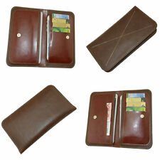 Universal Brown Leather Wallet Hold 2 Mobile Phones 4 cards + Money Case Cover