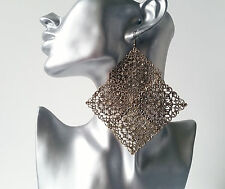 Gorgeous HUGE antique - vintage bronze tone filigree rhombus earrings, NEW