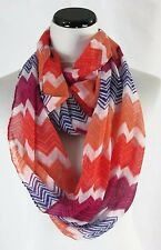 Infinity Cowl Scarf Pink Purple Orange Chevron