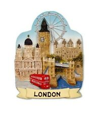 London Scenic Fridge Magnet Souvenir Gift Collage Scenes Big Ben Red Bus Bridge