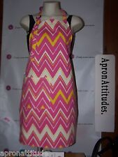 kitchen aprons,chef aprons,caterers apron,pink swirls with yellow zig zag
