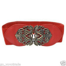 Women Fashion Vintage Wide Elastic Stretch Buckle Waist Belt Waistband UK