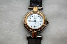 Guess Inc. 1997 Women's Silver, Gold, Pearl Face Watch w Leather Band