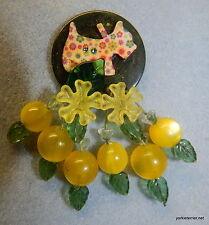 Vintage Green BAKELITE CHIP Scottie Lucite Cherry Lemon Brooch Handmade