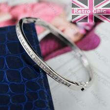 BEAUTIFUL SILVER FASHION BANGLE cubic zirconia stones CZ crystal BRACELET