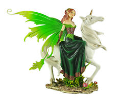 Beautiful Emerald Fairy On White Unicorn Statue Irish