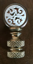 Small Vintage Round Lamp Finial for Chinese Lamp White & Brass Carved