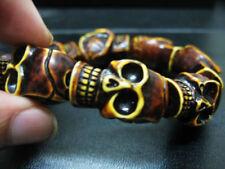 Man's cool skull beads jewelry demon evil biker bracelet NG
