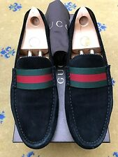 Gucci Mens Shoes Black Suede Loafers Drivers UK 11 US 12 EU 45 Green Red Web