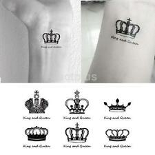 Creative Waterproof Crown King and Queen 6 Tattoos Temporary Body Art Sticker CA