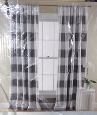 HALF MOON Room Darkening Insulated Window Curtains panels STRIPE Gray 52x84 NEW