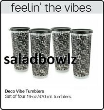 TUPPERWARE DECO VIBE 16 OZ TUMBLER SET 4 Tumblers Clear w/ Black Seals fREEsHIP