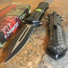Zombie Hunter BLACK Spring Assisted TOXIC GREEN BIOHAZARD Dagger Blade Knife NEW