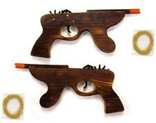 WOODEN MACHINE GUN ELASTIC RUBBER BAND SHOOTER boys toy army military toys new