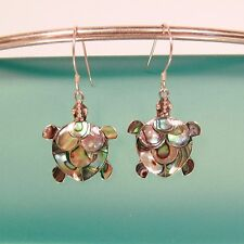 """1"""" Adorable Abalone Shell Turtle Handmade 925 Sterling Silver Drop Earrings"""