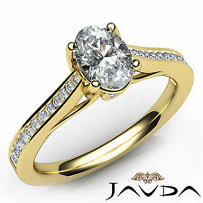 Bezel Channel Set Oval Diamond Engagement Ring GIA D VS1 18k Yellow Gold 0.80Ct