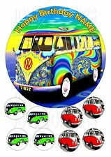 V W CAMPER VAN CAKE TOPPER ROUND  7.5 + 8 EDIBLE ICED ICING FROSTING  TOPPER