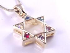 Estrella De David Magen Judaica Collar Colgante Kabbalah Dorado Cristal Piedras judío