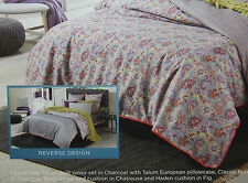 Sheridan Talum Reversible SINGLE Size Bed Quilt Cover Pillowcase Set in Charcoal