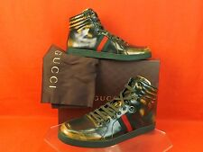 NIB GUCCI GREEN BURNISHED LEATHER INTERLOCKING WEB CODA HI TOP SNEAKERS 12 13