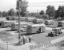 Photograph Vintage Migrant Worker & Camping Trailers Pennsylvania 1941  8x10