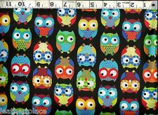 Timeless Treasures ~ BRIGHT COLORFUL OWLS BIRDS ~ 100% Cotton Quilt Fabric BTY