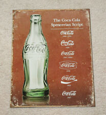 "Coca Cola Spencerian Script 12.5"" x 16"" Vintage Style Metal Signs Soda Bottle"