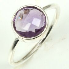 Genuine Faceted AMETHYST Fine Gemstone 925 Sterling Silver Ring Size US 7