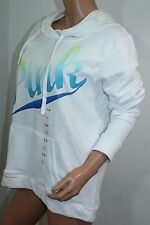 VICTORIA'S SECRET Pink Perfect High/Low Fleece White PullOver Hoodie Large NWT