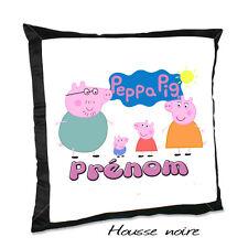 Coussin noir PEPPA PIG V3 avec le prénom de votre choix